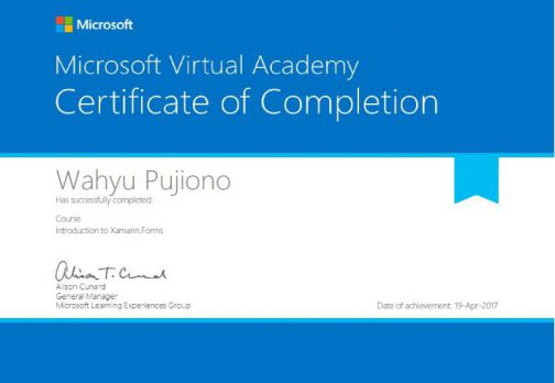 Introduction to Xamarin.Forms Certificate